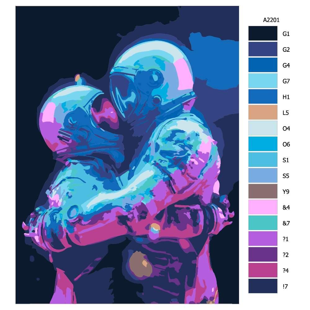 Návod pro malování podle čísel Astronauti 02