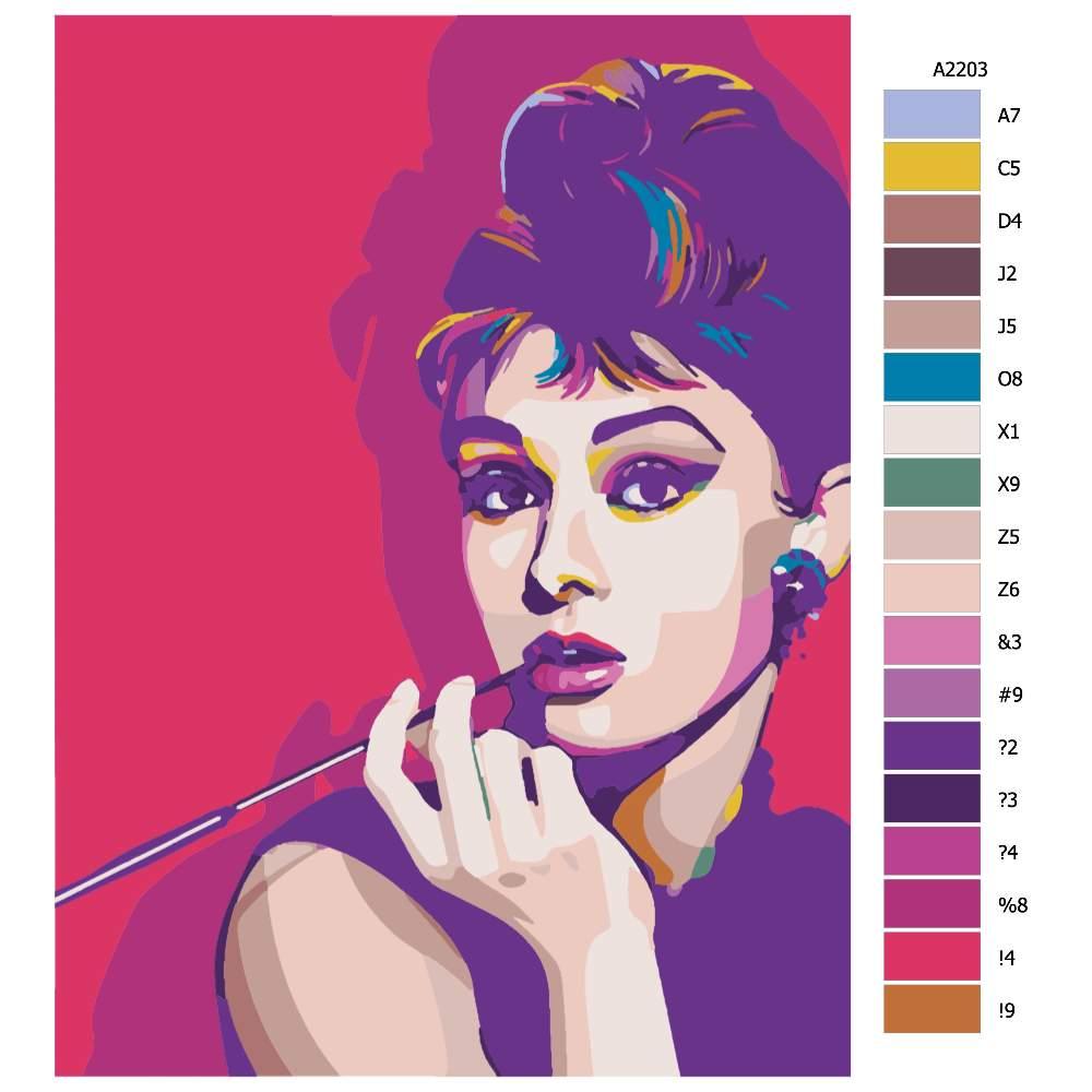 Návod pro malování podle čísel Audrey Hepburn 02