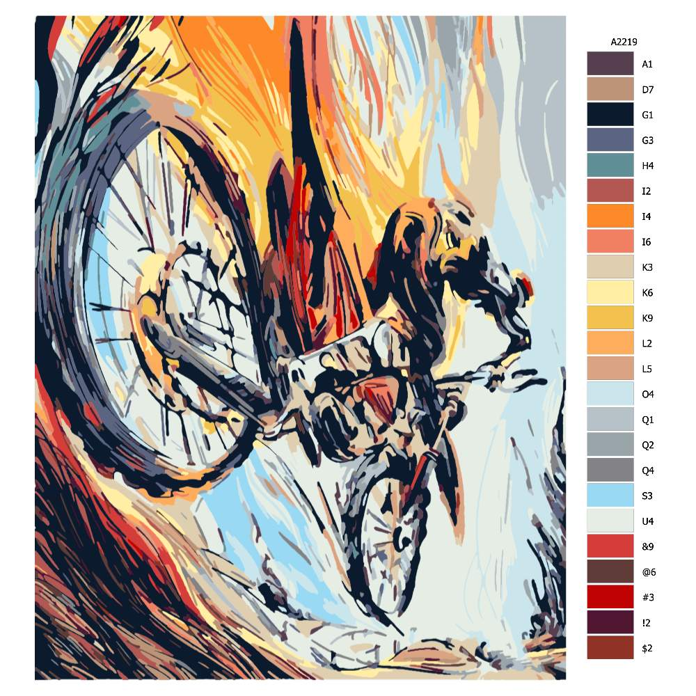 Návod pro malování podle čísel Cyklista