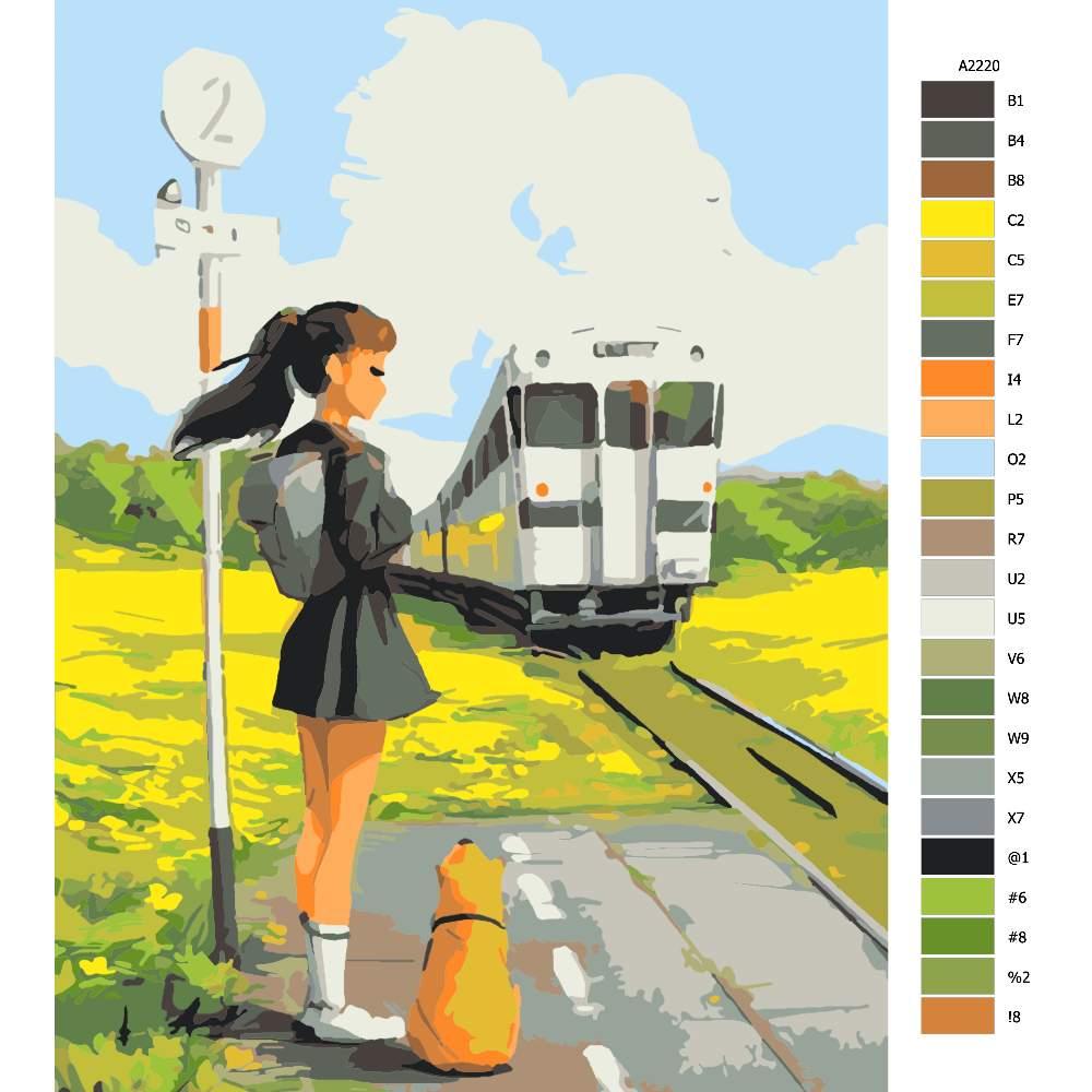 Návod pro malování podle čísel Čekání na vlak