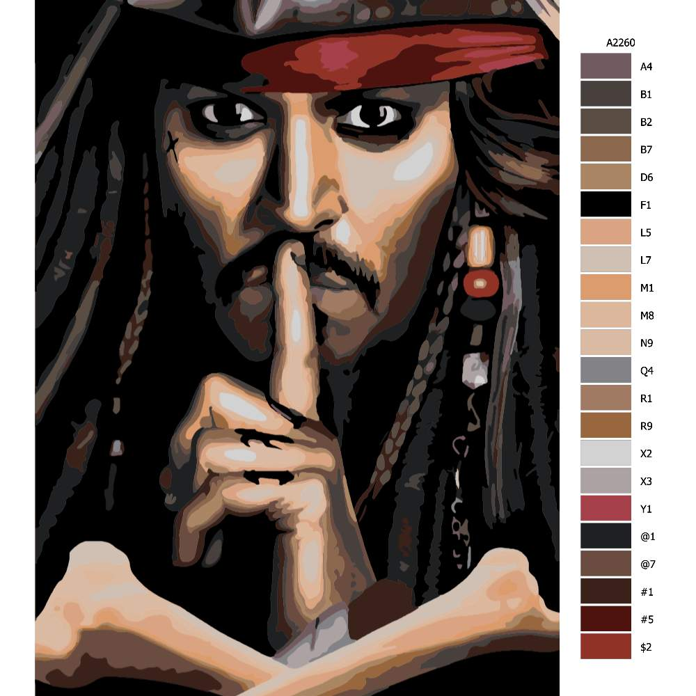 Návod pro malování podle čísel Jack Sparrow 02