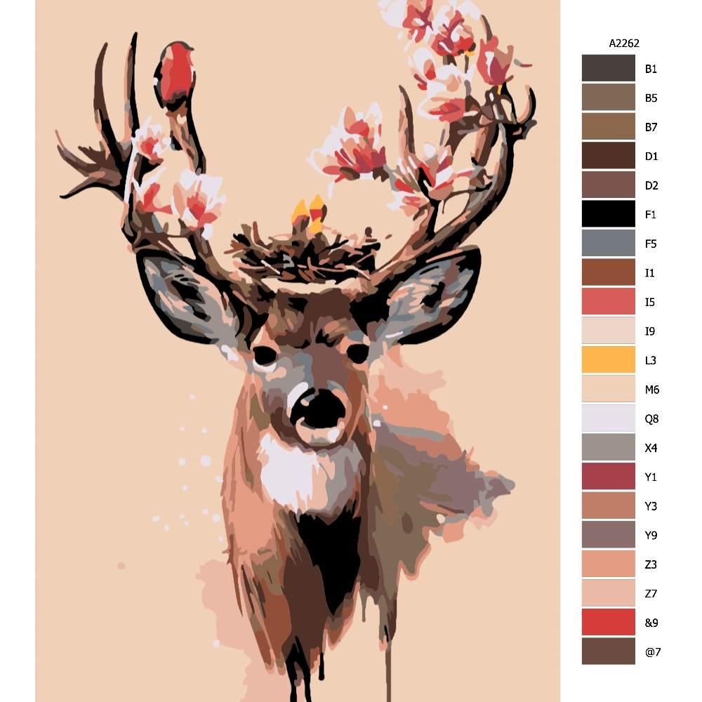 Návod pro malování podle čísel Jelenní parohy