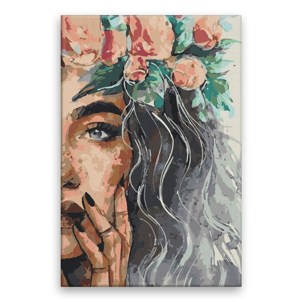Malování podle čísel Květiny ve vlasech 40x60