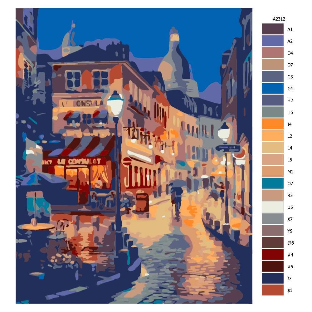 Návod pro malování podle čísel Potemělá ulice