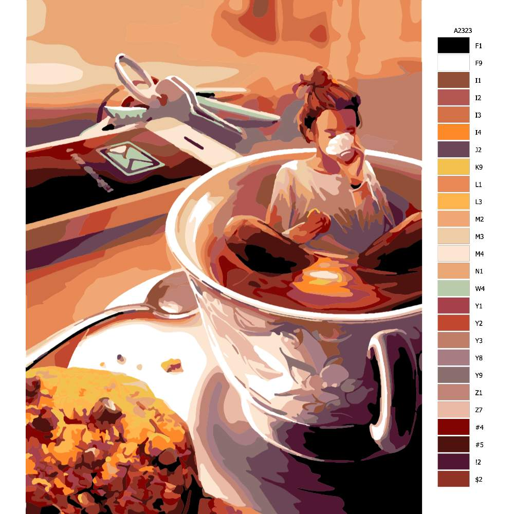 Návod pro malování podle čísel Ranní káva