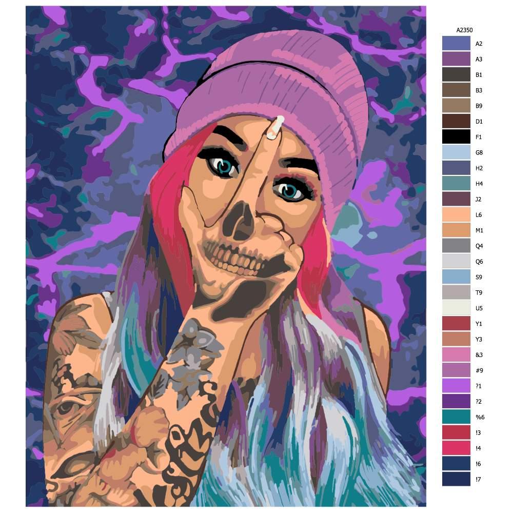 Návod pro malování podle čísel Tattoo 05