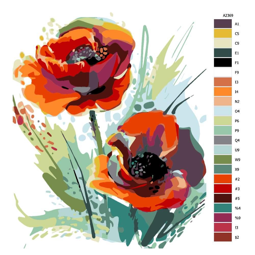 Návod pro malování podle čísel Vlčí máky v květu
