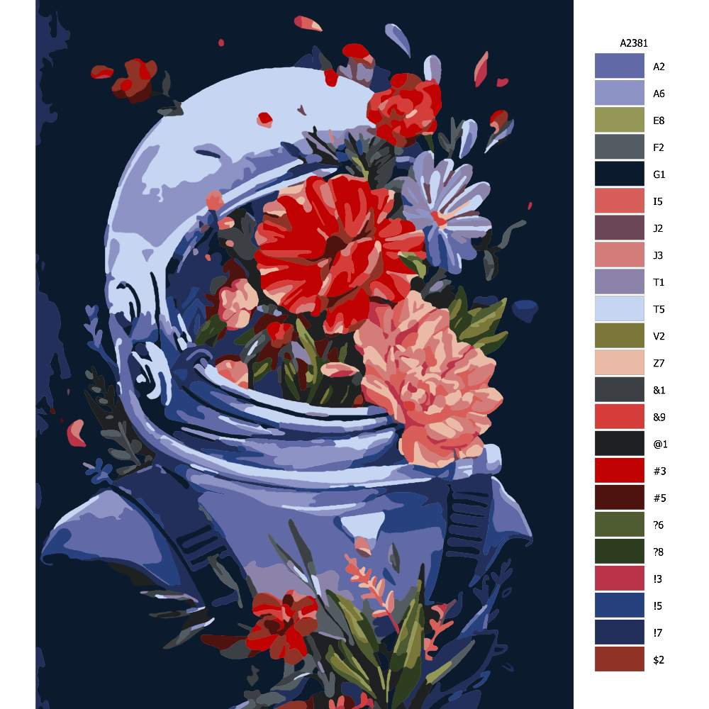 Malování podle čísel Astronaut s kvetinou