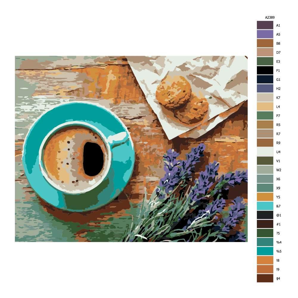 Návod pro malování podle čísel Káva v Provence