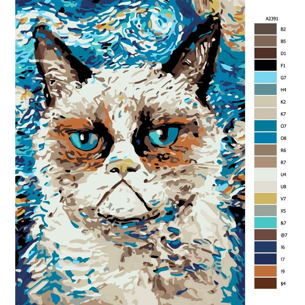 Návod pro malování podle čísel Kočka Grumpy